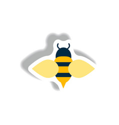 Stylish icon in paper sticker style honey bee vector