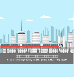 Subway above ground in front of cityscape vector