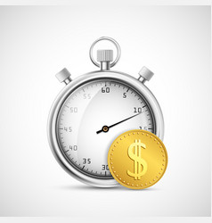 timer or stopwatch icon next to a gold dollar coin vector image