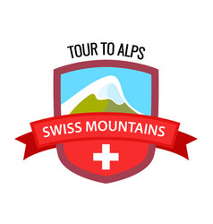 tour to alps - coat arm swiss mountains on vector image