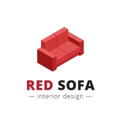 trendy isometric red sofa logo vector image