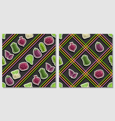 vegetable seamless patterns vector image
