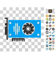 video gpu card icon with bonus vector image