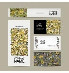 Vintage business cards floral honey design vector