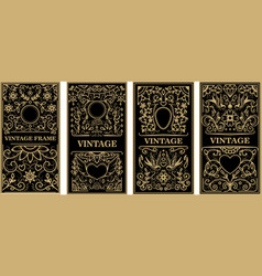 vintage frames in golden style on dark background vector image