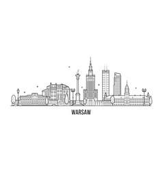 Warsaw skyline poland city buildings vector