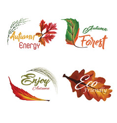 watercolor autumn logo collection with yellow vector image
