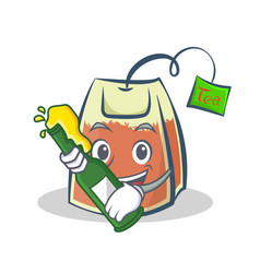 with beer tea bag character cartoon art vector image