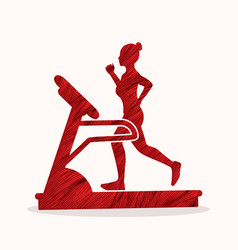 woman running on treadmill graphic vector image