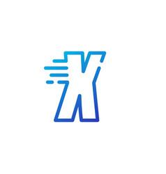 X letter dash fast quick digital mark line vector