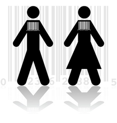 Barcode in people vector image