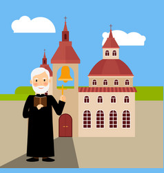 colored church building and pastor vector image