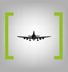 flying plane sign front view black vector image