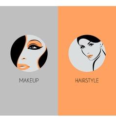 Girl face closeup hairstyle and makeup beauty badg vector