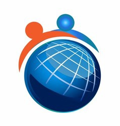 People and Globe Icon vector image