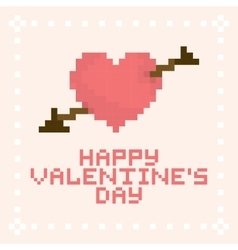 Pixel art valentines day card vector image