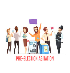 Politics pre-election cartoon composition vector