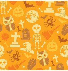 Seamless pattern with halloween objects vector image