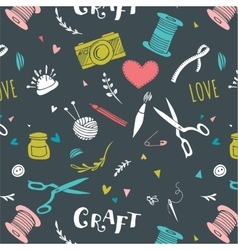 Crafts patterns and hand drawn background vector image