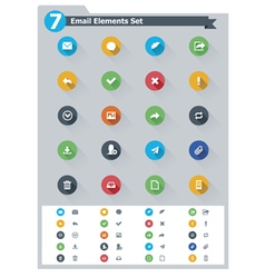 Flat email icon set vector image vector image