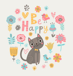 Floral card with cat vector