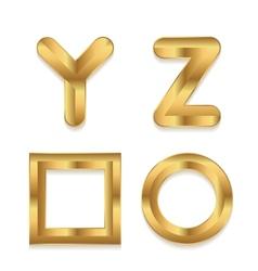 Golden alphabet Set of metallic 3d letters vector image