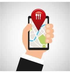 hand holds phone navigation app restaurant vector image vector image