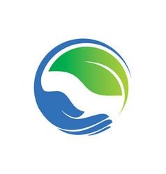 save green leaf organic hand logo vector image vector image