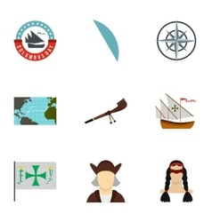 Search of mainland icons set flat style vector image vector image