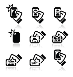 Selfie taking photos with smartphones for social vector image vector image