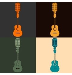 symbol of a guitar and a microphone vector image