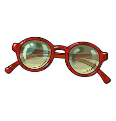 fashionable round sunglasses in red plastic frame vector image vector image