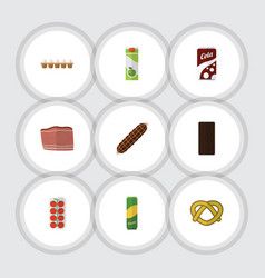 flat icon food set of confection tomato cookie vector image vector image