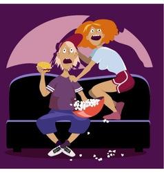 Horror on TV vector image