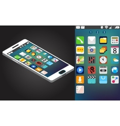isometric generic smartphone and interface vector image vector image