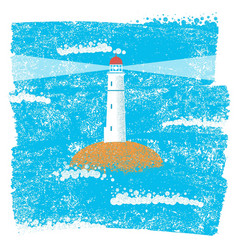 lighthouse with blue sea grunge background vector image