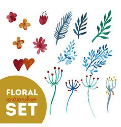 set floral watercolor vector image