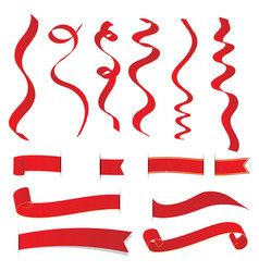 set of red christmas ribbons elements vector image