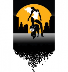 wolf and woman vector image