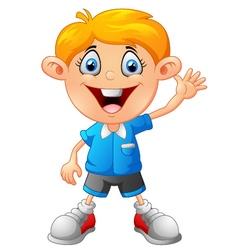 Cartoon little boy giving thumb up vector image