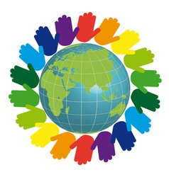 Eco logo - earth and color hands vector image