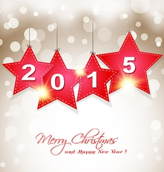 hanging 2015 star on magical winter background vector image vector image