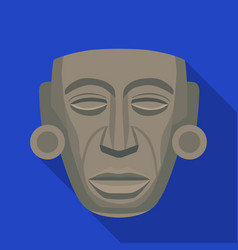 mayan mask icon in flat style isolated on white vector image