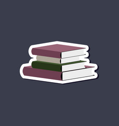 Paper sticker on stylish background stack of books vector