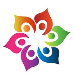 Teamwork people united logo vector image
