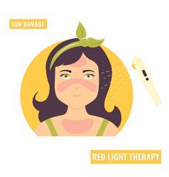 A girl with sun damage vector