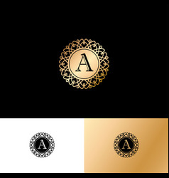 A gold letter monogram gold circle lace ornament vector