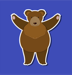 a grizzly bear character sticker template vector image