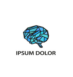 abstract and polygonal brain icon vector image