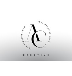 Ac letter logo design with serif typography font vector